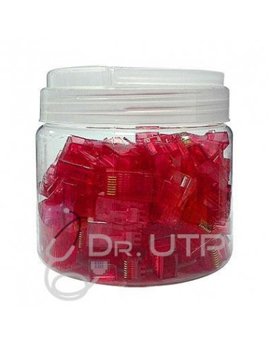 RJ45-RED  Conector RJ45 CAT.5e Color Rojo en Tarro de 100 unidades